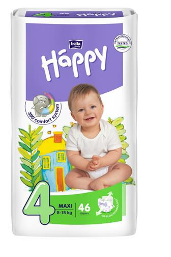 Bella Happy Maxi (4) 8-18kg jednorázové pleny 46 ks