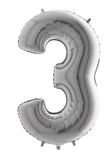 Balónek foliový stříbrný č.3