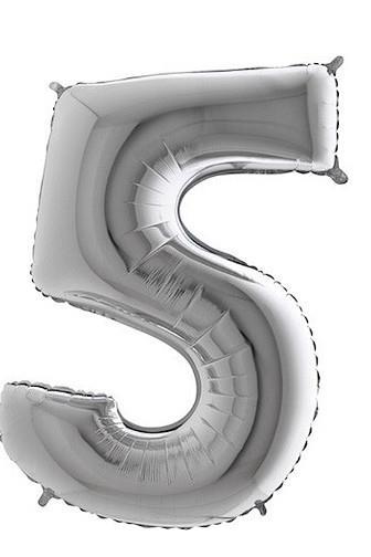 Balónek foliový stříbrný č.5