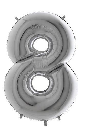 Balónek foliový stříbrný č.8