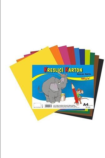 Kreslící karton barevný mix A4 180 g/m2 50 listů
