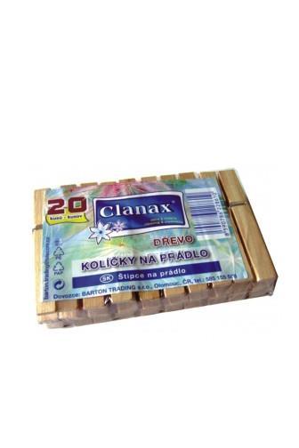 Clanax Kolíčky na prádlo dřevěné 20 ks