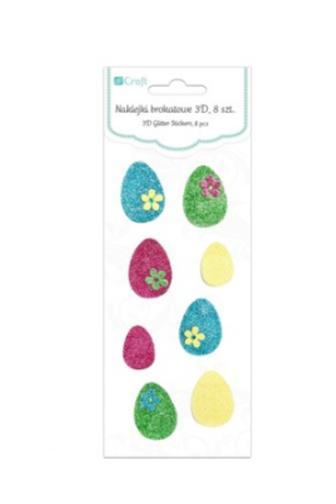 Samolepky dekorační brokátové 3D kraslice DPNB-025