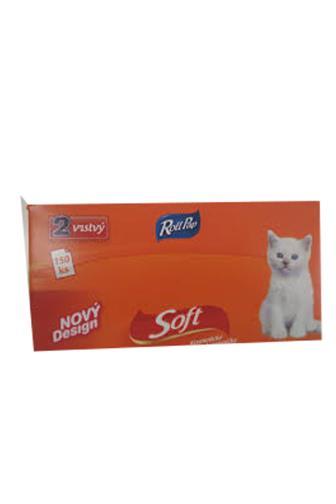 RollPap Kapesníčky kosmetické Soft Kočička 2 vrstvé 150ks