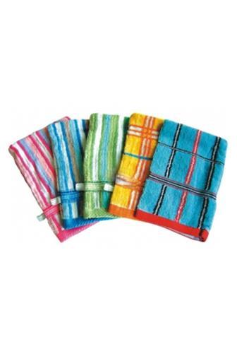 Abella Žínka froté rukavice Vzor různé barvy s poutkem 1 ks