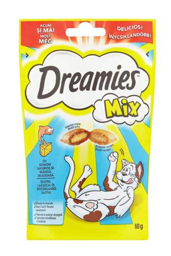 Dreamies polštářky losos a sýr mix 60 g