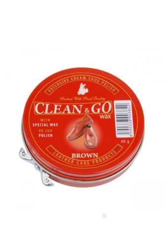 Clean & GO Wax krém na obuv hnědý 40 g
