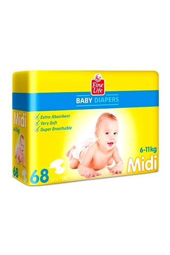 Fine Life Baby M Midi 6-11 kg jednorázové pleny 68 ks