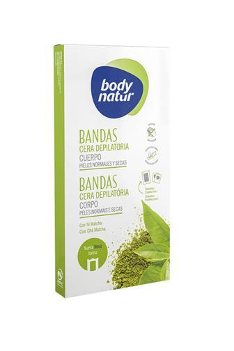 Body Natur voskové pásky epilace těla s čajem Matcha 16 ks