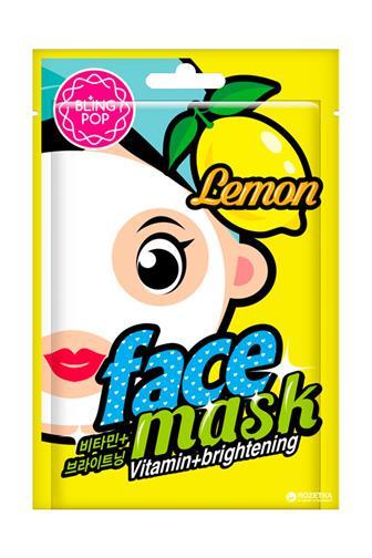 Bling Pop Lemon pleťová maska vitaminová & rozjasňující 20 ml