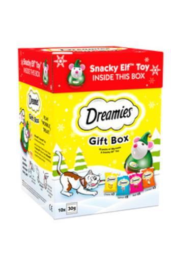 Dreamies 10x30g + hračka vánoční box