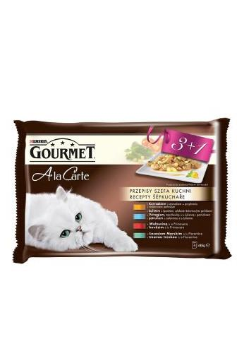 Gourmet A la Carte Multipack 3+1 zdarma (kuře, hovězí, pstruh, tmavá treska) 4 x 85g