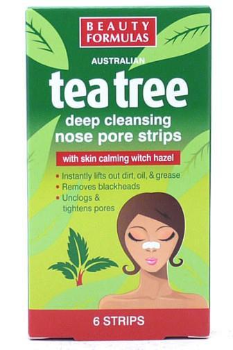 Beauty Formulas Tea Tree pásky na nos s olejem čajovníku austral. 6 ks