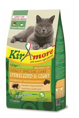 KirAmore Cat Adult Sterilized Light kuře/rýže 1,5 kg