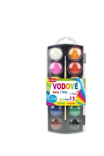 Abico Barvy vodové se štětcem 12 barev průměr 28 mm