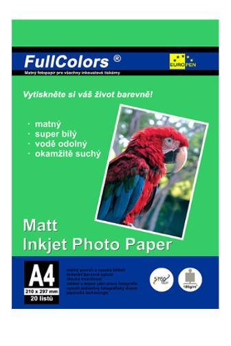 Europen fotopapír A4 180g 20 listů matný