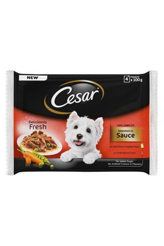 Cesar Výběr v omáčce hovězí/kuřecí se zeleninou 4 x 100 g