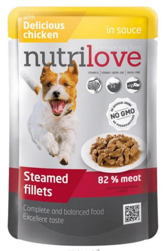 NutriLove Dog filetky s kuřecím v omáčce 85g