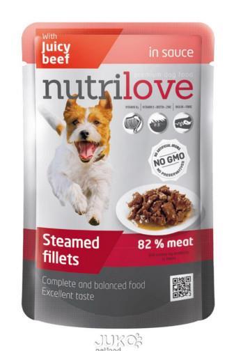 NutriLove Dog filetky s hovězím v omáčce 85 g