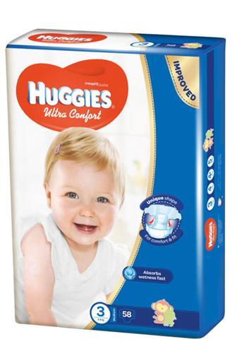 Huggies Ultra Comfort 3 5-8kg jednorázové pleny 58 ks
