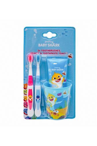 Baby Shark set 2 x kartáček + zubní pasta + kelímek